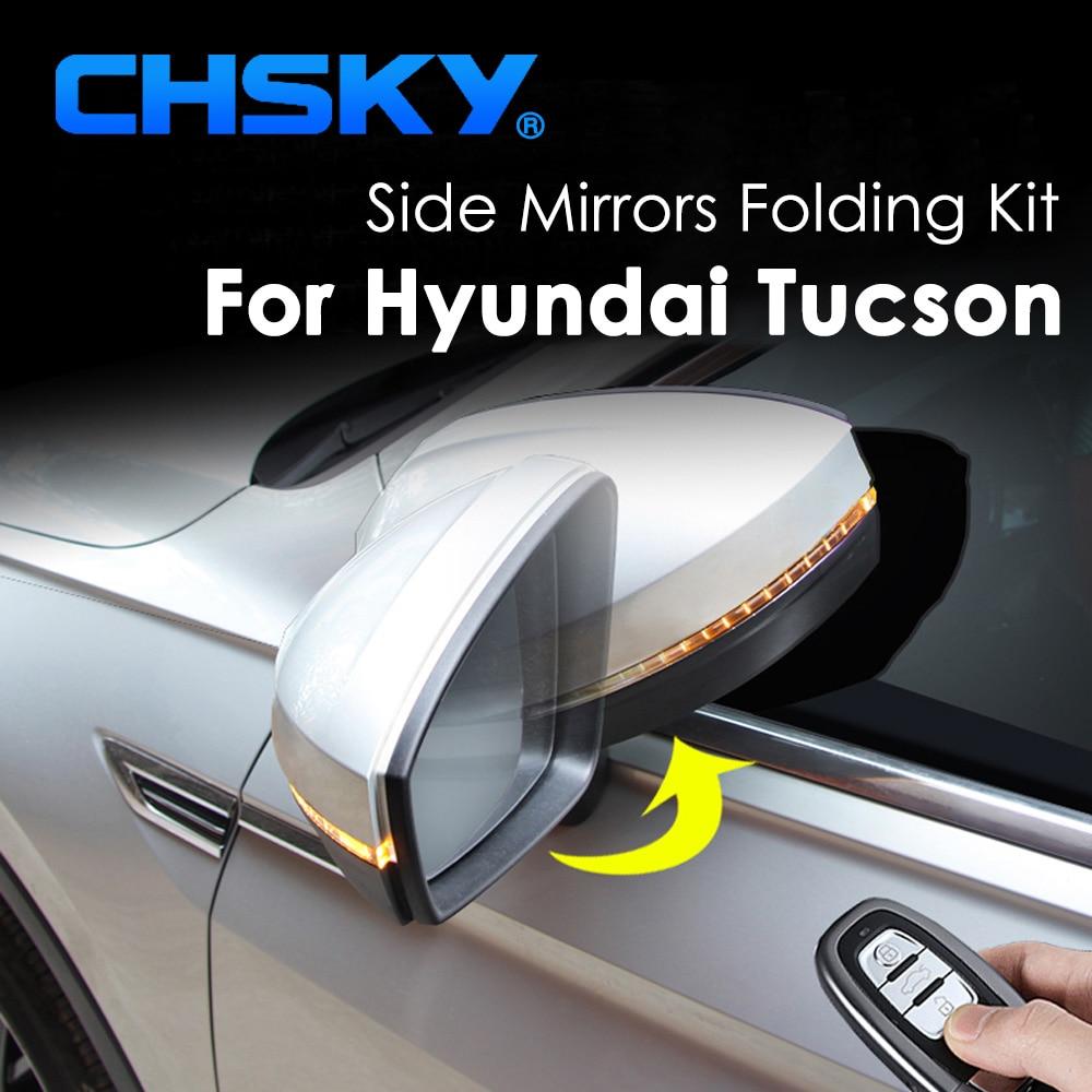 CHSKY, conjunto de espejo plegable lateral para coche para Hyundai Tucson 2015 2016 2017, espejo lateral plegable, espejo retrovisor plegable, estilo de coche
