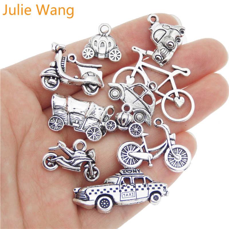 Julie Wang 10 Uds mixto del coche de la motocicleta bicicleta autobús encantos de aleación de Color collares y pendientes DIY joyería accesorio