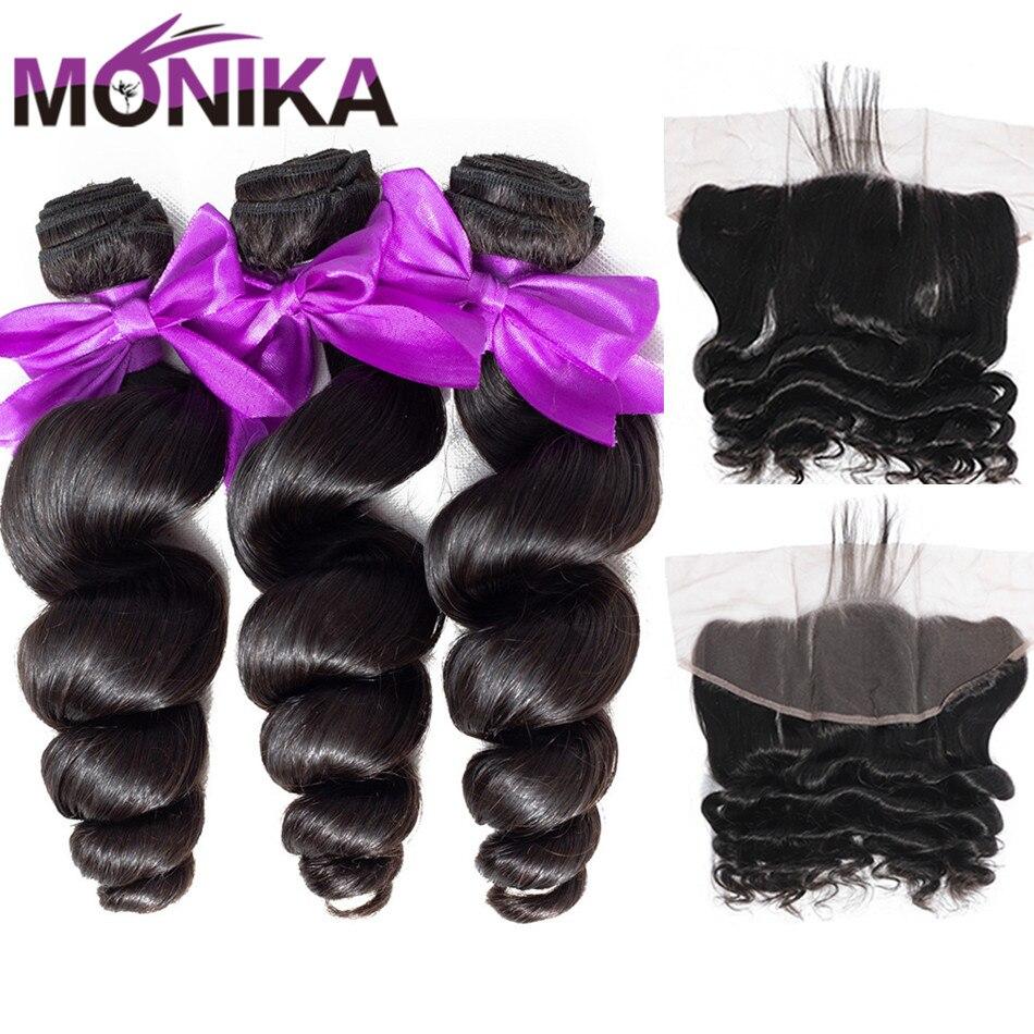 Mechones de ondas sueltas Monika con Frontal de pelo Camboyano con cierre Frontal y manojos de pelo humano no Remy con manojos