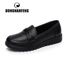 DONGNANFENG Women Old Mother Female Shoes Flats Loafers Cow Genuine Leather Slip On Black Round Toe