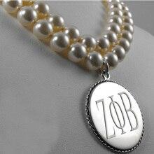 Collier de perles en Zeta Phi, haute qualité, gravé
