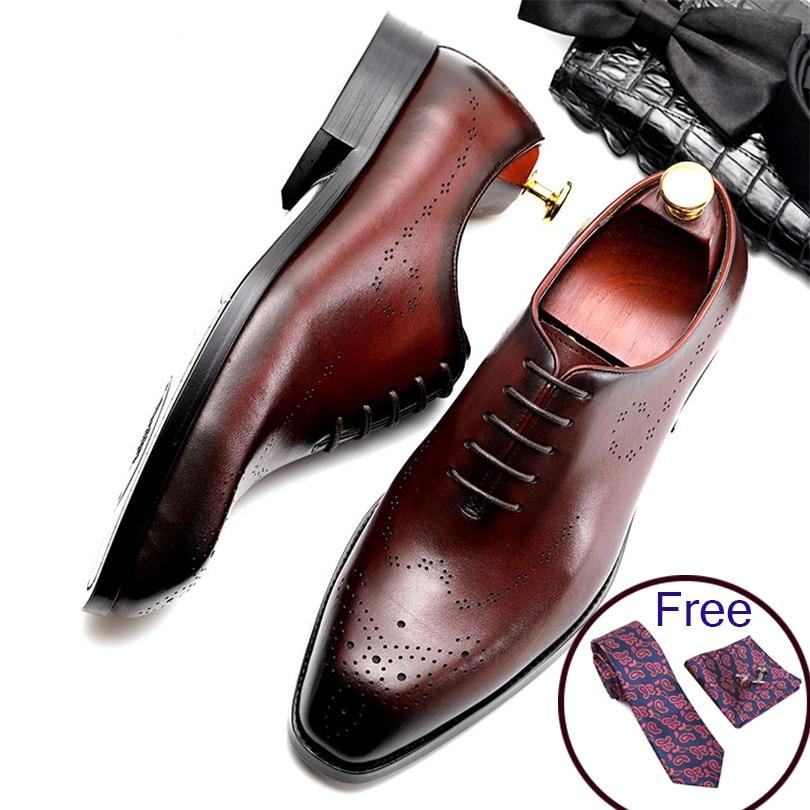Мужские кожаные туфли, деловые модельные туфли из натуральной воловьей кожи черного цвета на шнурках, мужские свадебные туфли Phenkang