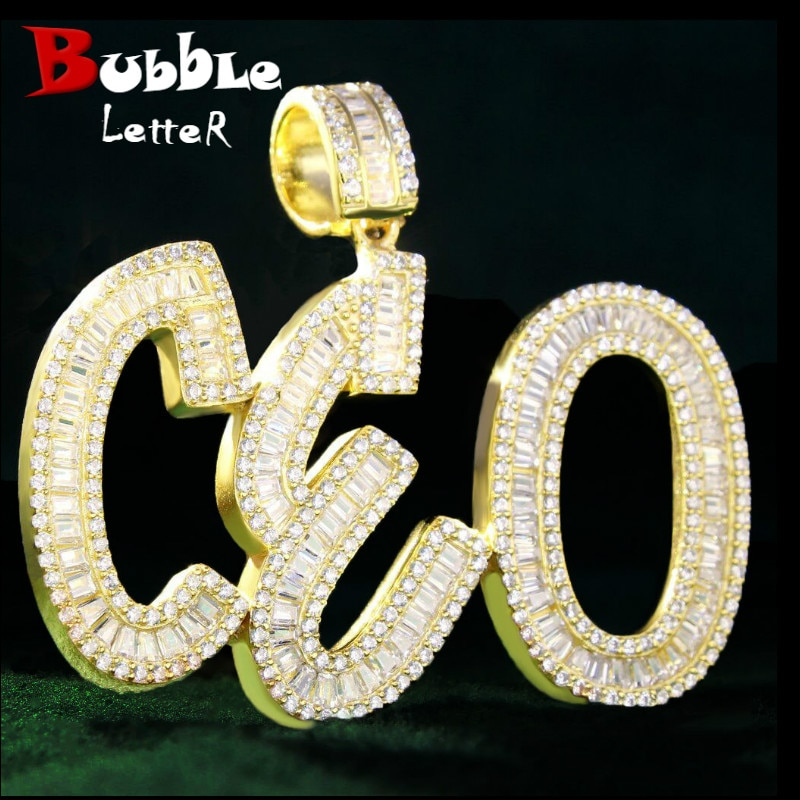 Custom Name Number Baguette Letters Pendant Gold Color Charm AAAA Zirconia Men's Hip Hop Necklace Chain Rock Jewelry
