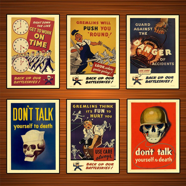 Affiche Vintage américaine de propagande WW2   Affiche de propagande de Production, ne parle pas, toi jusquà la mort, peintures en toile classiques, autocollant mural, cadeau de décoration intérieure