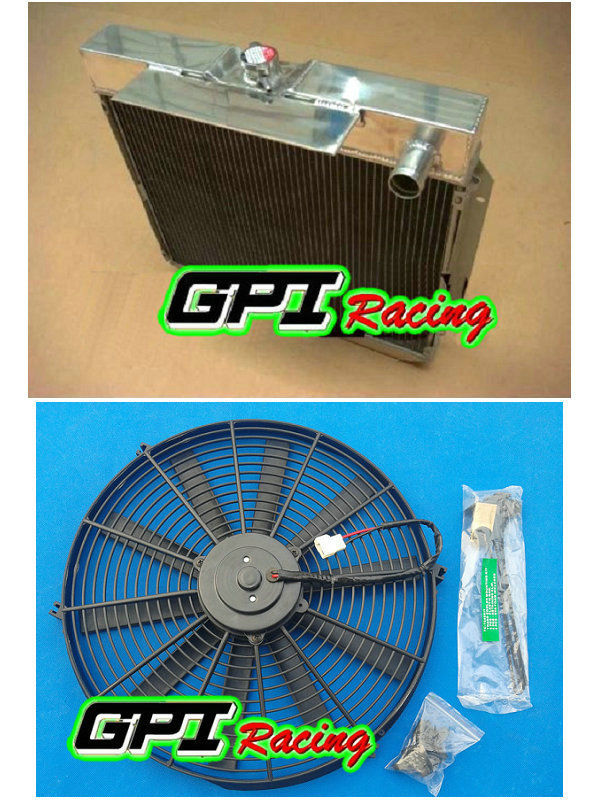 Radiador de alumínio & ventilador para FORD Falcon XA XB XC ZF 6 ZG FAIRLANE cyl 72-77 AT/ MT