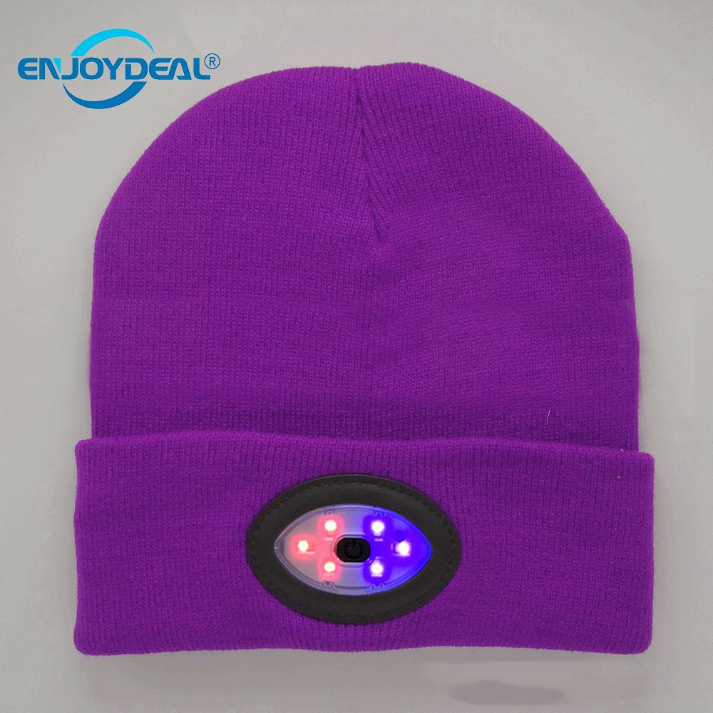 6LED ニット帽子 USB 充電式ハンズフリー懐中電灯キャップ保温冬クライミング用釣り屋外