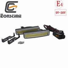 Eonstime-support dinstallation lampe blanche   Véhicules COB 2 pièces, phare de jour voiture DRL 12V/24V fonction E4