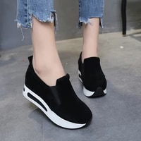 hot sales 2019women casual flat platform sneakers spring elastic band shoes female breathable creepers footwear woman slimming f