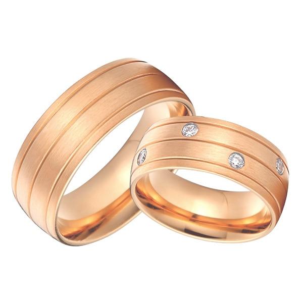 Conjuntos de Alianças de Casamento Feito sob Encomenda do Par Cor de Rosa de Ouro de Saúde Anéis Titanium Jóia Nupcial Aliança 8mm