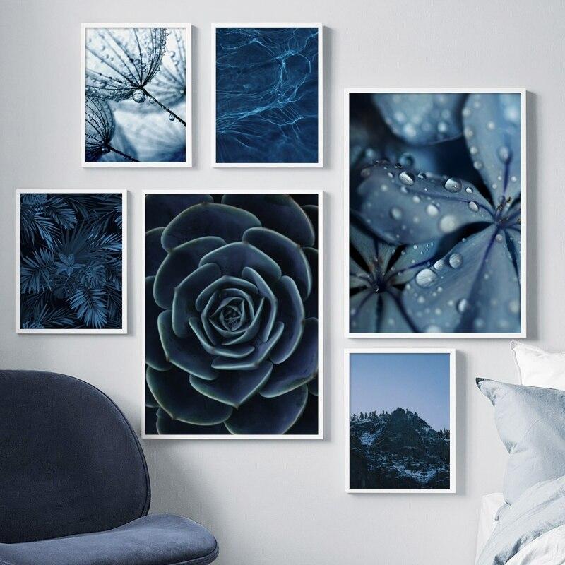 Синий одуванчик суккуленты листья монстеры настенная живопись холст скандинавские постеры и принты настенные картины для декора гостиной
