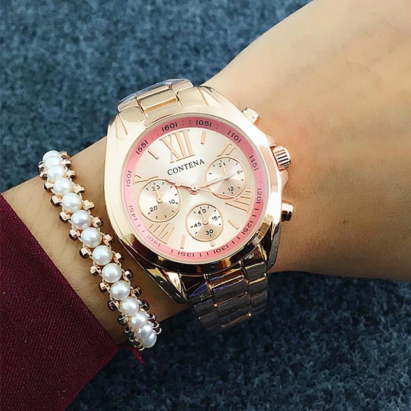 Contena, nuevos relojes de lujo para mujer, de Geneva Dress, elegantes relojes dorados de negocios para mujer, reloj de lujo