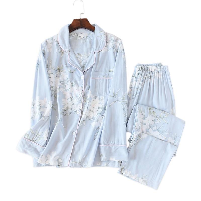 2020 Fresh flowers rayon summer pajamas sets women sleepwear cozy casual long sleeve quality pyjamas women homewear hot sale