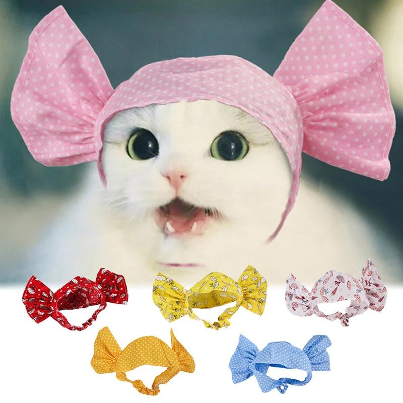 Grande arco-saber azul dot pet chapelaria para gatos pequenos filhotes azul dot branco guarda-chuva bonito cabeça-wear pet princesa acessórios