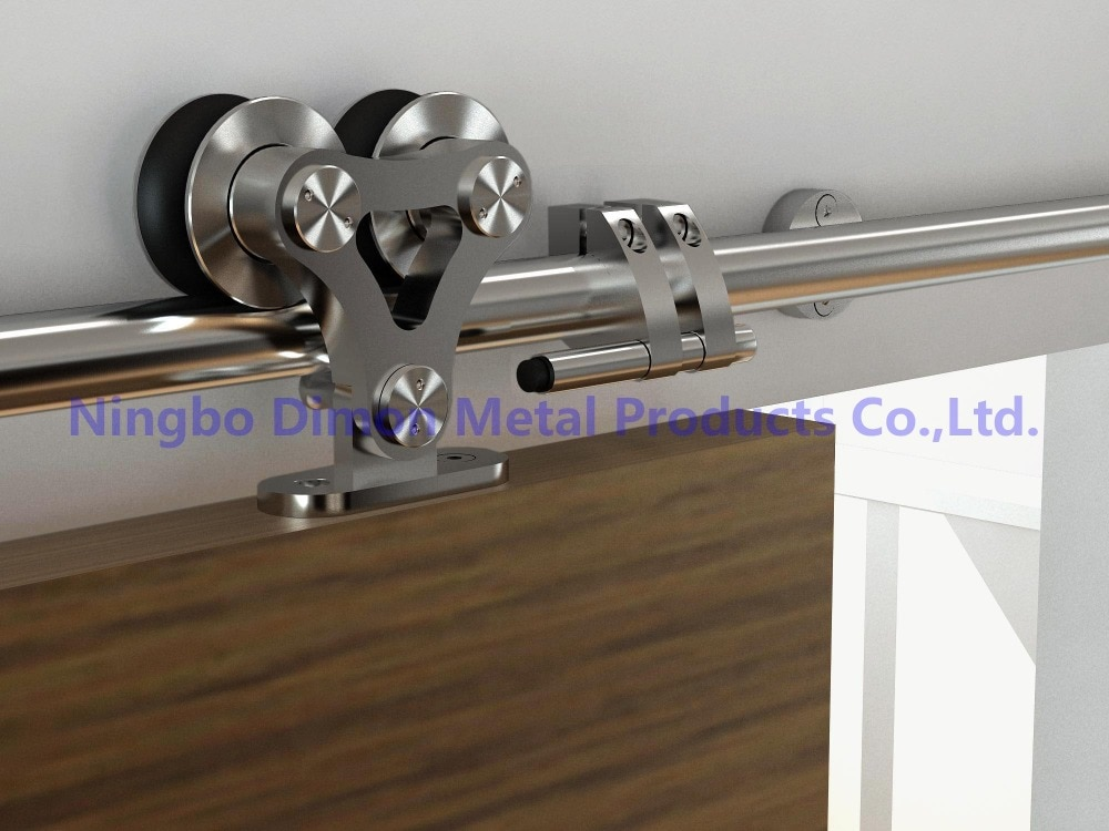 Dimon SUS 304 stain high quality two heads wood sliding door hardware DM-SDS 7102 without sliding rail