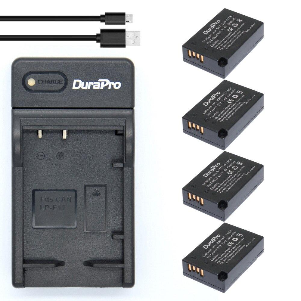 Аккумуляторная батарея LPE17 LP E17, 4 шт., 1040 мА/ч + USB зарядное устройство для Canon EOS Rebel T6i 750D T6s 760D M3 800D 8000D Kiss X8i