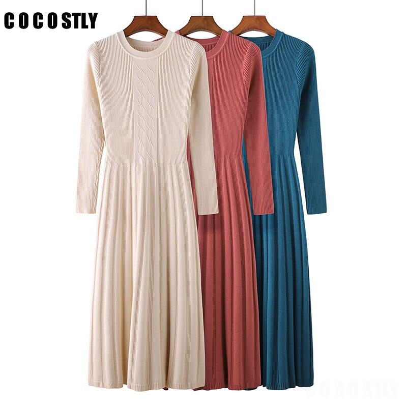 Vestido de inverno manga longa ol longo o-pescoço vestido de camisola feminino grosso a linha vestido fino feminino jumper feminino vestido de malha