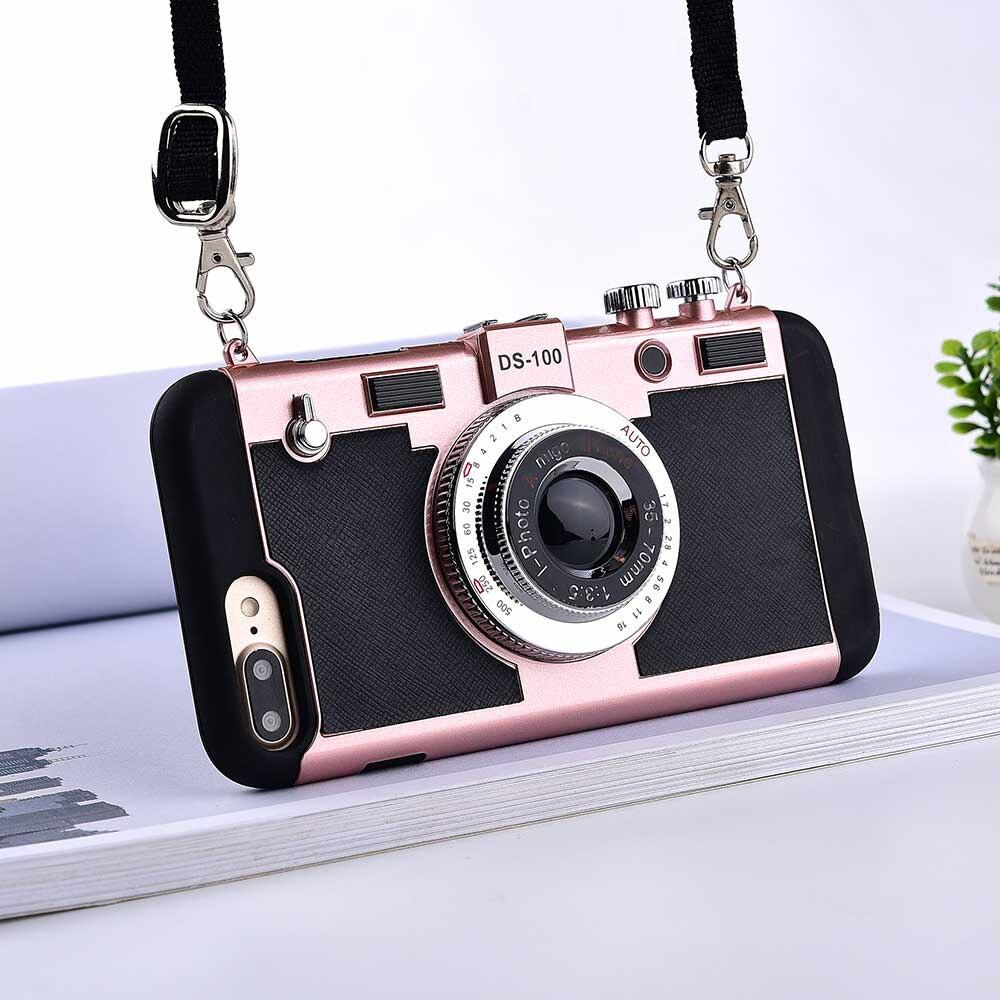 Чехлы для телефонов с ретро-камерой для iPhone 11Pro 11 pro XS Max XR X 8 7 6 6s Plus 5 5s SE, мягкий силиконовый чехол с ремешком