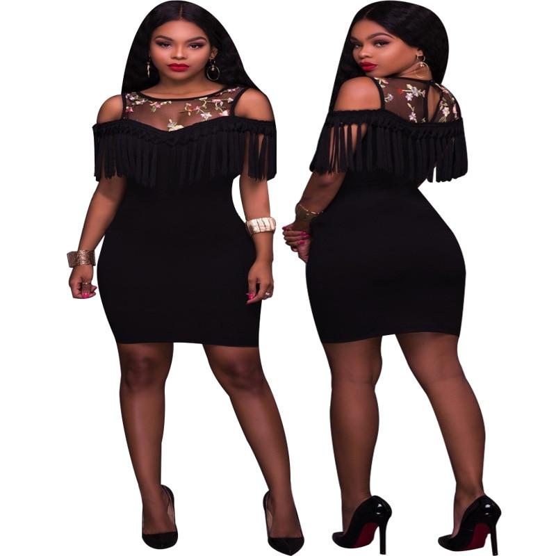 Vestido de Mujer 2019 Primavera Verano flecos vestido de borla de hombro Club bodycon bata Vestidos Mujer Mini Jurken Sommerkleid