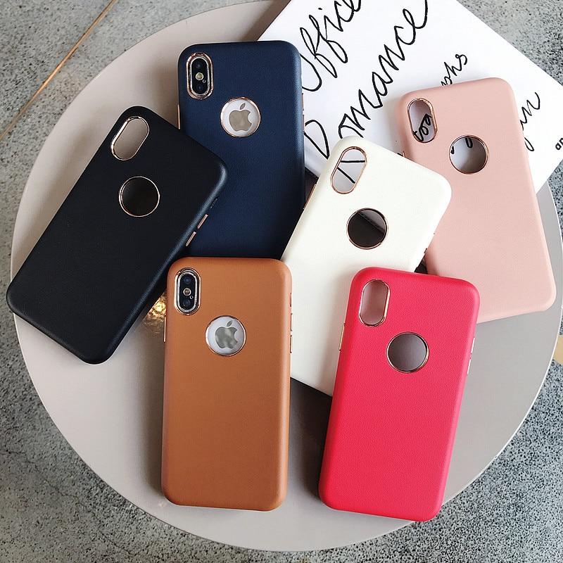 Funda Retro de cuero para iPhone X XS MAX XR 8 7 Plus 6 6s, funda de terciopelo con Logo, funda para iPhone 8Plus Slim Shock