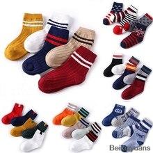 1 pièce/5 paire de chaussettes pour enfants   Automne, hiver, en coton, chaussettes antidérapantes au sol, chaussettes multicolores pour garçons et filles