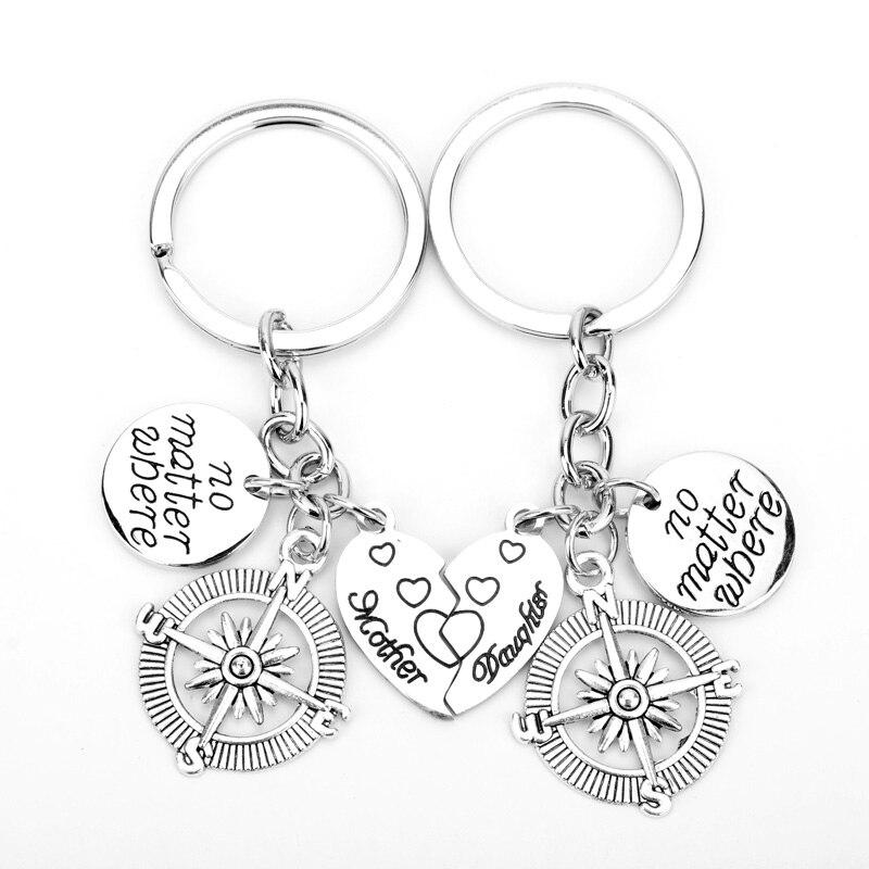 Dongsheng 2 sztuk moda złamane serce najlepszy przyjaciel bez względu na to, gdzie wisiorek breloki kompas urok najlepsi przyjaciele BFF dar przyjaźni