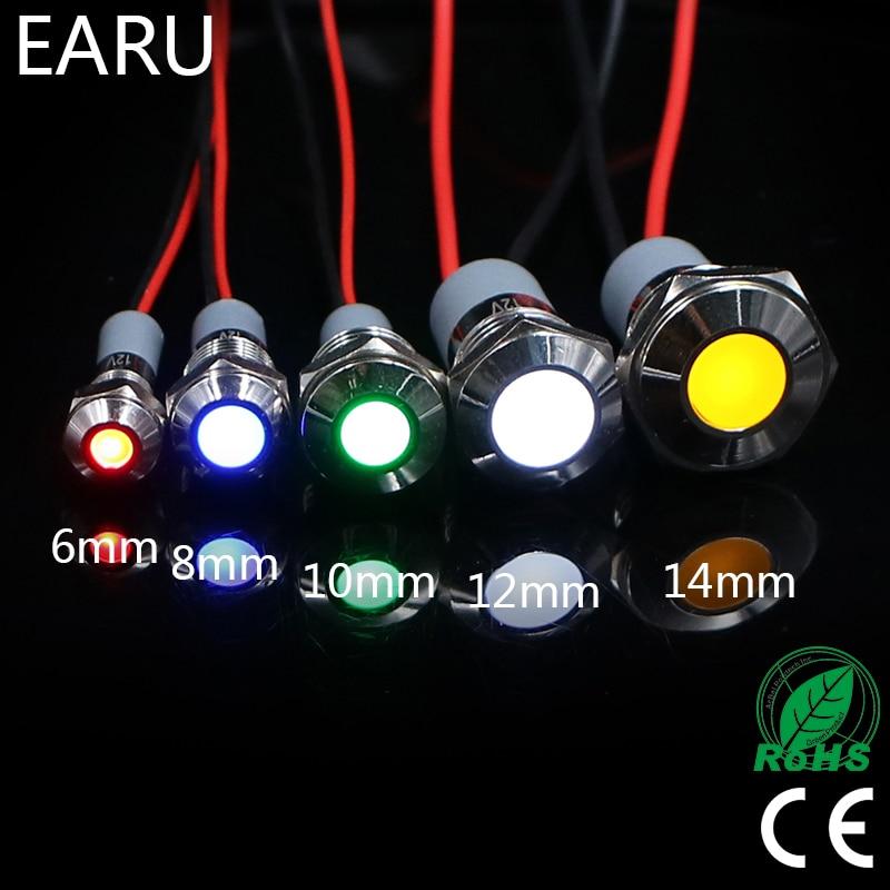 6mm 8mm 10mm 12mm 14mm 16mm impermeable IP67 Metal LED indicador de advertencia de luz lámpara de señal piloto 3V 5V 12V 24V 110V 220 V, rojo, azul