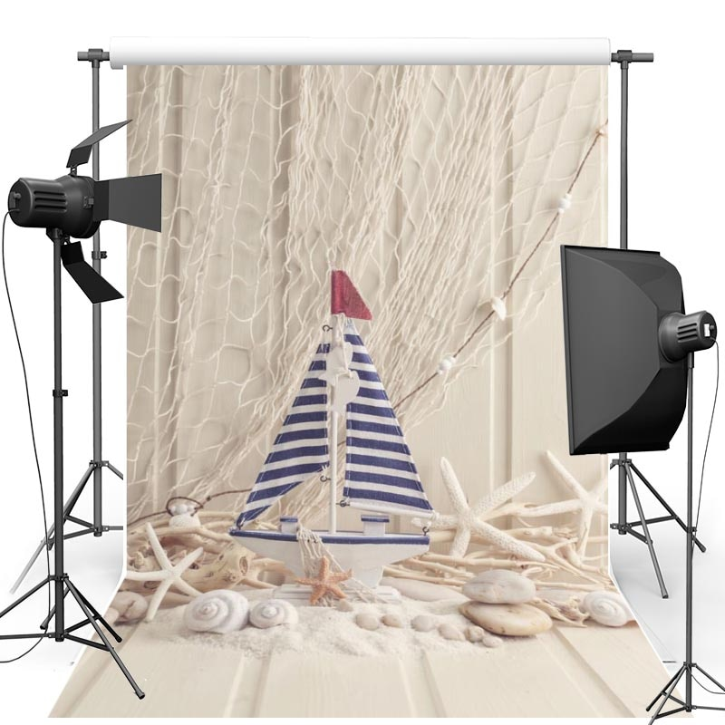 Vinyl backdrop Beach New Fabric Flannel Photography Background Wood Floor Starfish For Children studio Photo Props F2154