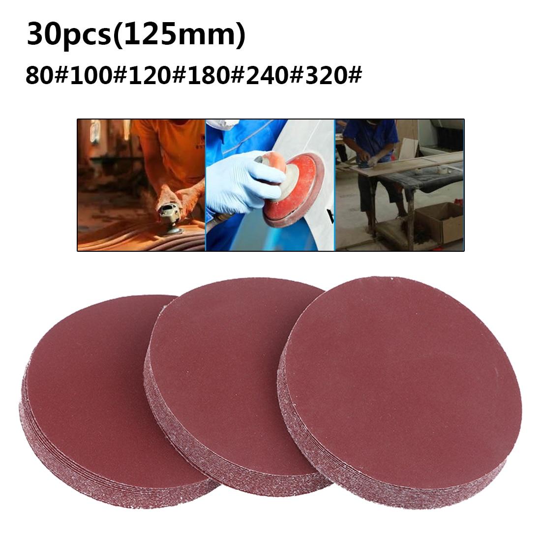 Rodada Lixa Disco 30 pçs/set 5 polegada 125 milímetros Folhas de Areia Grit 80/100/120/180/240/320 Gancho e Disco de Lixa para Lixar Grits