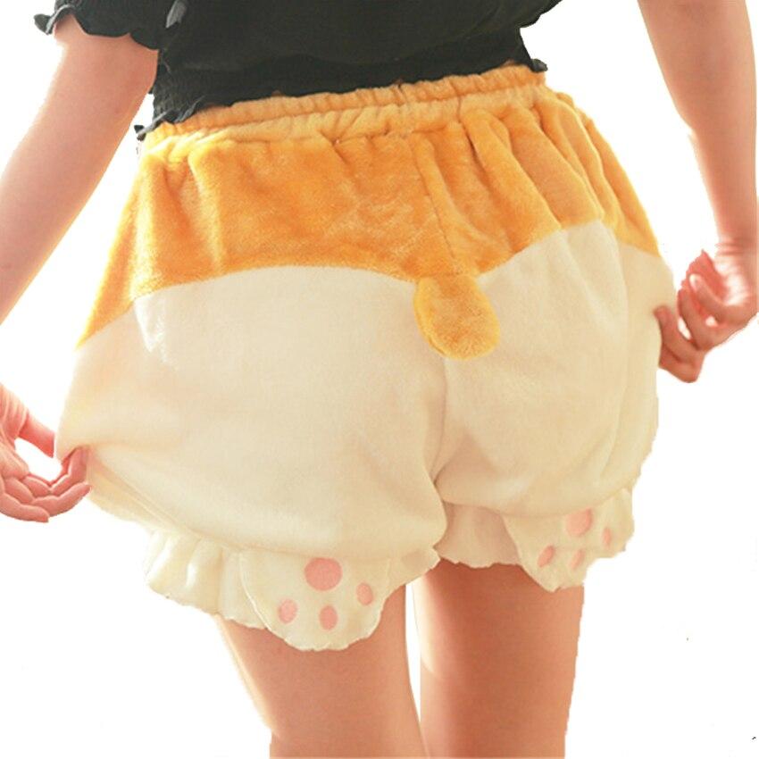 Bonitos pantalones cortos de dormir para mujer Lolita Kawaii trasero de perro galés Pokemon Pikachu Harajuku calabaza Bloomers pijamas cintura elástica B81801
