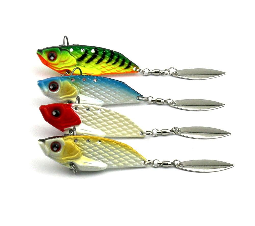 4 unids/set señuelo de Pesca 20g 6cm VIB Spinner cebo Cicada Metal duro cebo para bajo con 4 # ganchos señuelos artificiales Pesca
