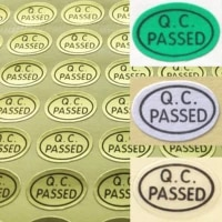 54000pcs 13x9mm qc passed self adhesive label sticker for quality control oval shape gold green or clear item no fa02