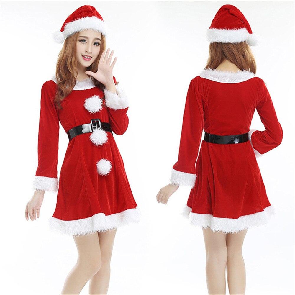 Feliz Navidad cosplay disfraz de Papá Noel para mujeres Navidad rojo esponjoso con capucha sexy vestido/sombrero conjunto traje de fiesta