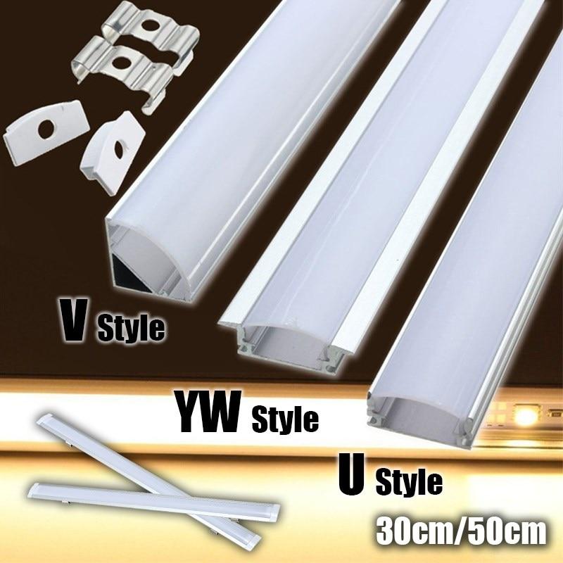 LED Bar Lights Aluminum Channel Holder 30/45/50cm U/V/YW-Style Shaped Milk Cover End Up Lighting Accessories For LED Strip Light
