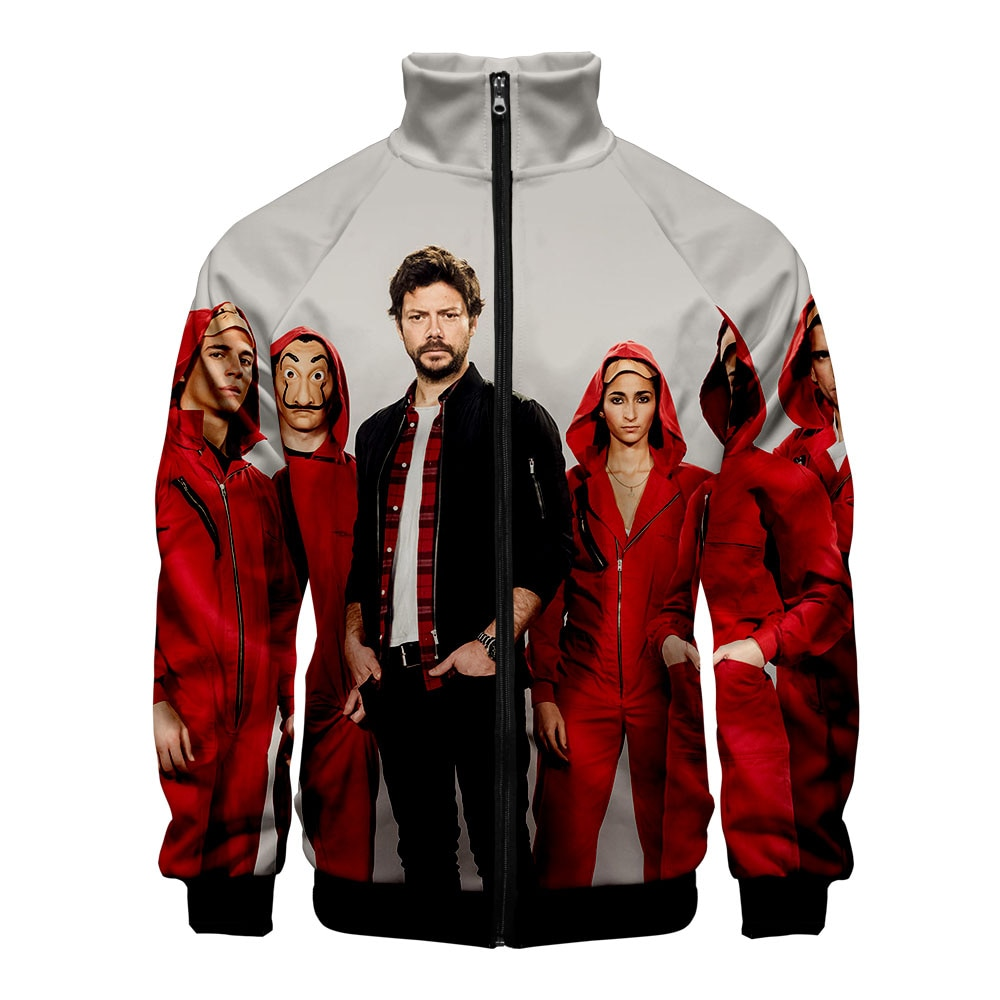 Ocio de La serie de TV española dinero hist La casa de papel jerseys Stand Collar Unisex HIP HOP Casual zipper abrigos
