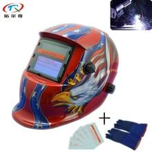 Rouge américain aigle offre spéciale meilleure qualité CE approuvé Auto assombrissement Tig soudage casque soudeur gant expédition rapide TRQ-HD10-2233FF