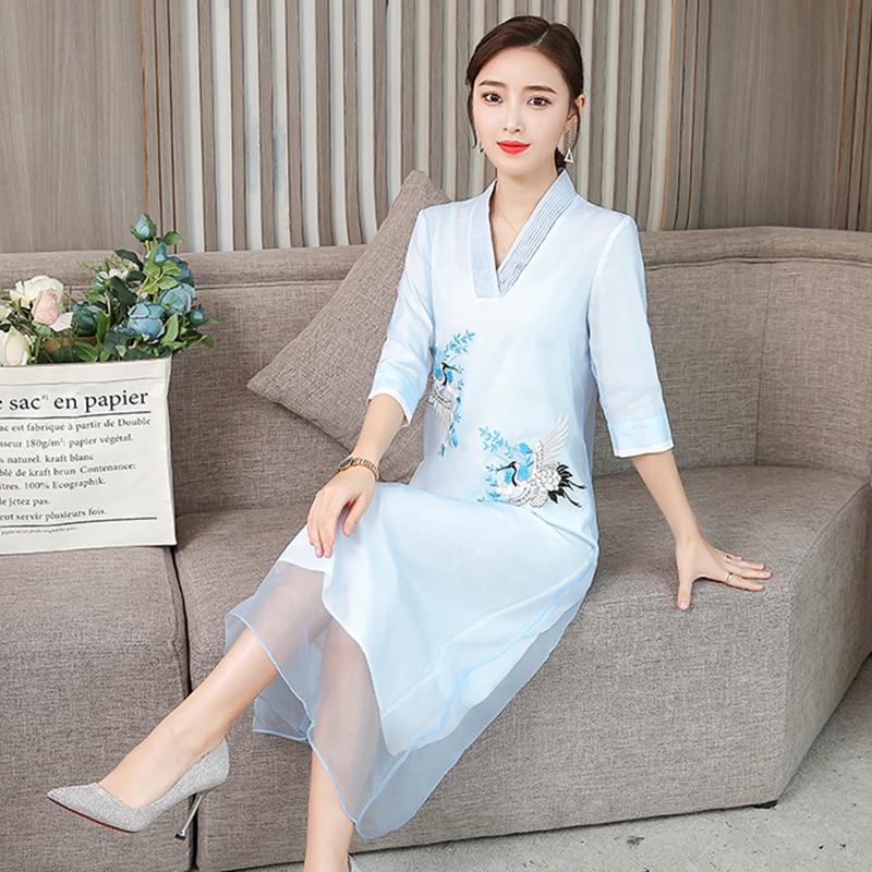 Verano vietnam ao dai vestido tradicional chino qipao vestido largo bordado elegante China cheongsam moderno