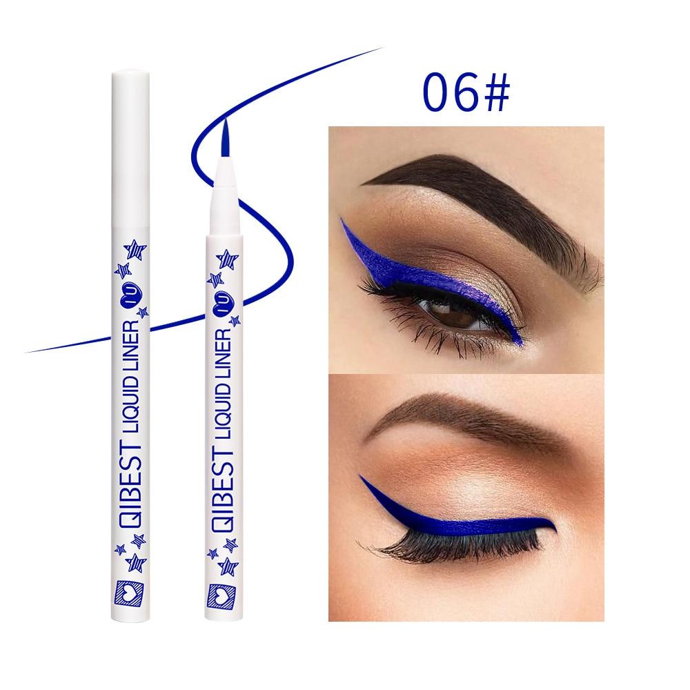 Lápiz Delineador de ojos azul Qibest, mango blanco, 12 colores, impermeable, larga duración, amarillo, verde, mate, Lápiz Delineador de ojos líquido QB031