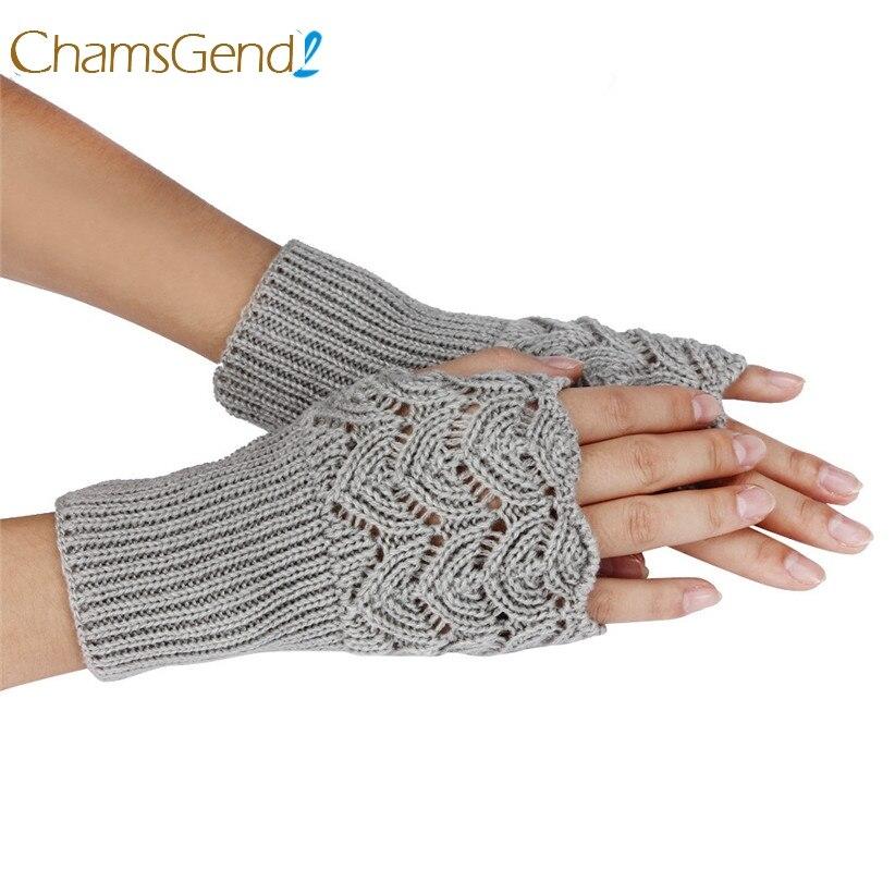 Chamsgend Hot Sell Womens Warm Winter Brief Paragraph Knitting Hollow Half Fingerless Gloves Drop Shipping