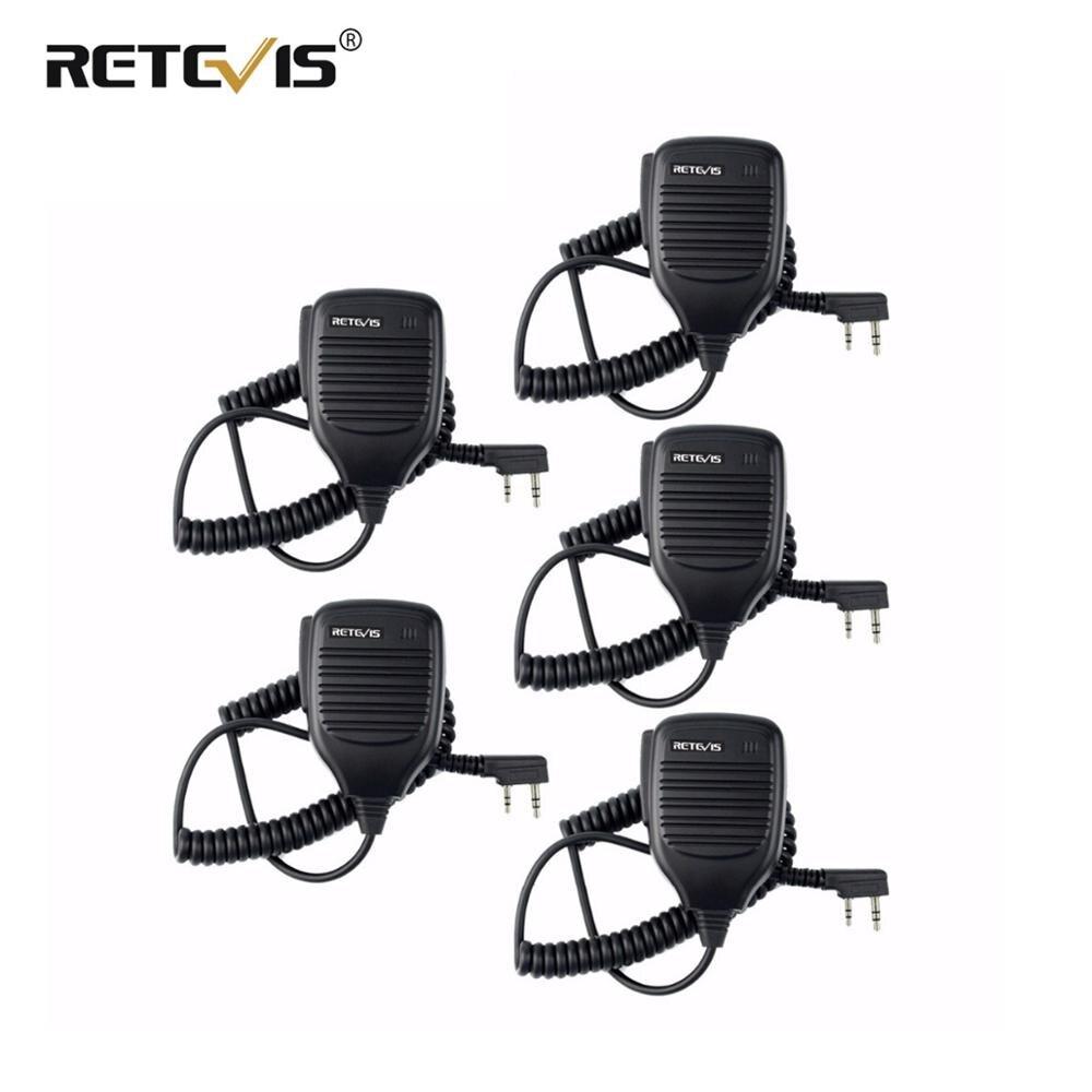 5X PTT altavoz walkie talkie con micrófono Mic Accesorios Para Kenwood Retevis H777 RT7 RT22 para Baofeng UV-5R UV-82 para WLN KD-C1