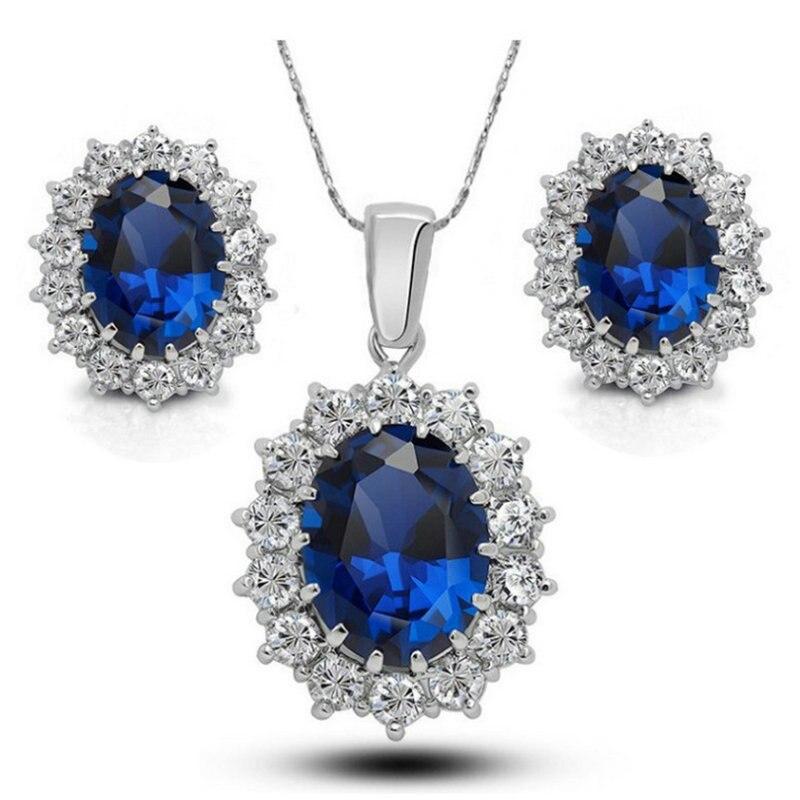 Conjunto de pendientes de boda de alta calidad de la Familia Real Princesa Diana Kate, conjunto de joyas de cristal de Gema azul brillante Europea americana