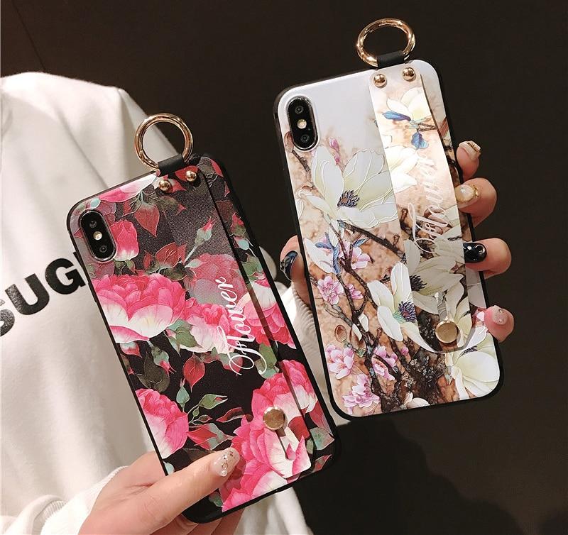 3D alivio flor Floral para iPhone 7 7 6 6s plus X Xs X max XR anillo de metal Correa funda de teléfono TPU suave niñas Coque