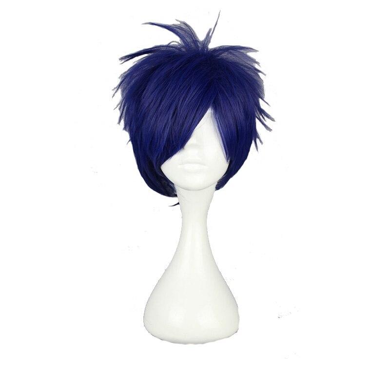 MCOSER 30 CM Synthetic Short Straight Dark Blue Cosplay Wigs 100% High Temperature Fiber Hair WIG-370D