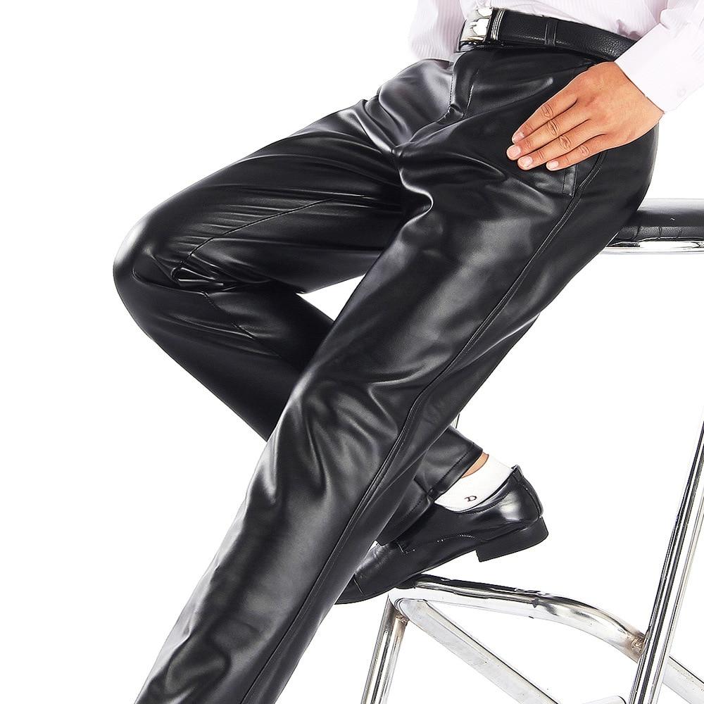 Thoshine ماركة الصيف الرجال بنطال جلدي العمل مرنة خفيفة الوزن الذكية عادية بولي Trousers السراويل الجلدية رقيقة موتور السراويل حجم كبير