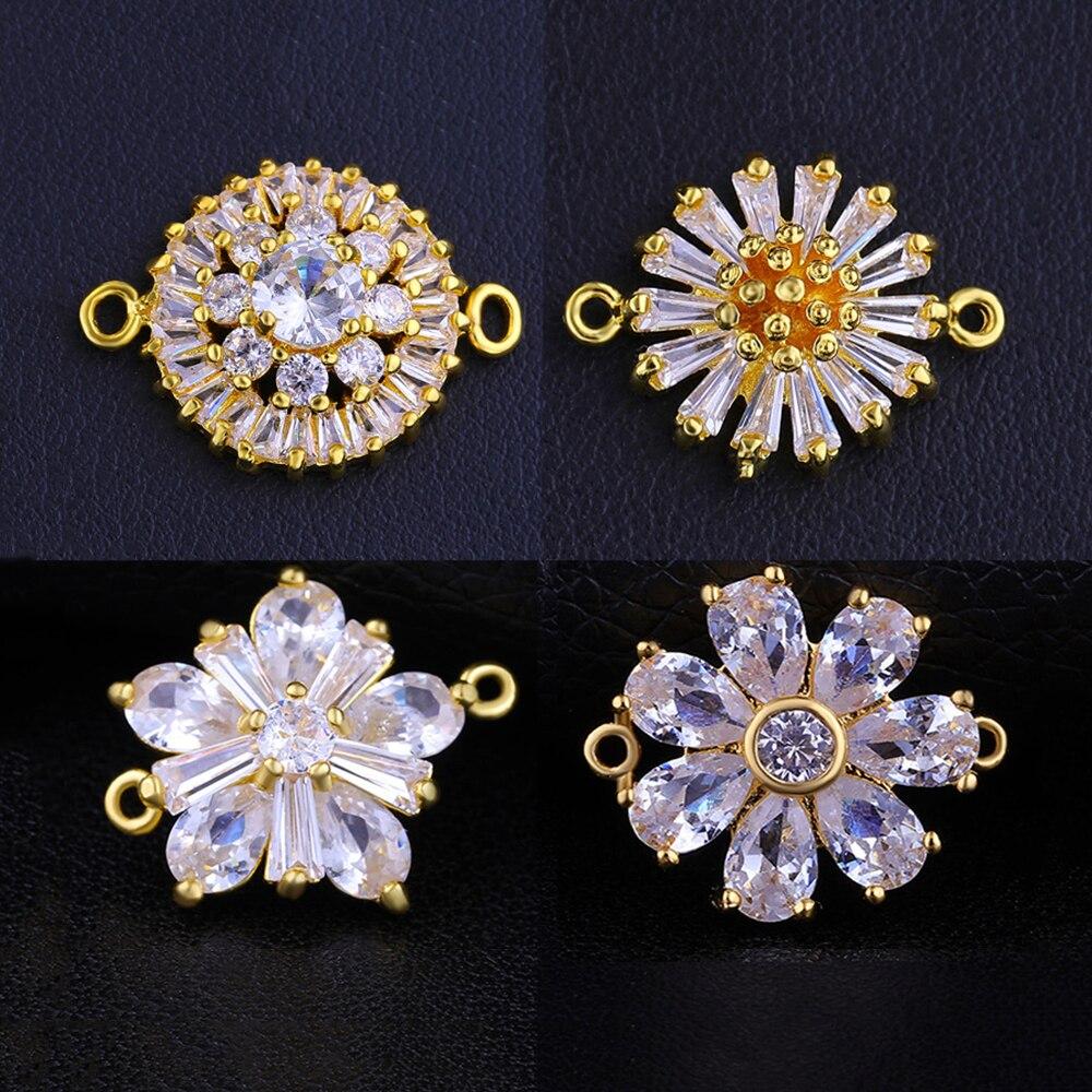 Juya DIY, accesorios de joyería para mujer, conectores de flores de Zirconia cúbica, accesorios para costura, joyería, pulseras, fabricación de pendientes