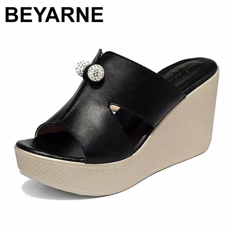 BEYARNE 2019 New Summer Genuine Leather Platform Wedges Sandals Women Fashion High Heels Female Summer Shoes Size 35-43E277