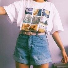 kuakuayu HJN Van Gogh Painting Vintage Fashion Aesthetic White T-Shirt 90s Cute Art Tee Hipster Grunge Top