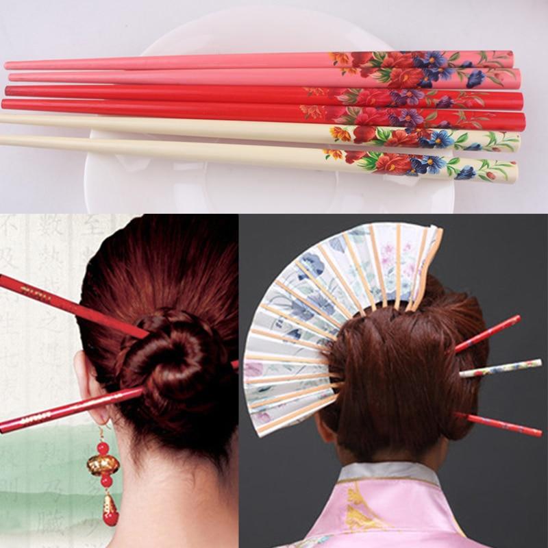 Venda 2 pçs pintura do vintage flor colorido vara de cabelo madeira natural noiva hairpin impressão estilo étnico artesanal japonês hairpin