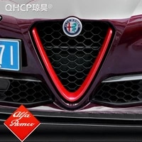 qhcp abscarbon fiber style for alfa romeo giulia accessories car head grilles v frame decoration trim sticker cover styling
