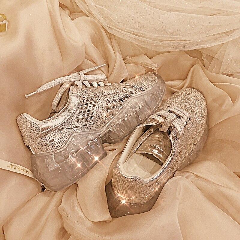 ¡Novedad de 2019! Zapatos planos para mujer, zapatos informales de fiesta con cristales, zapatillas de deporte doradas con aumento interior, zapatos de correr con plataforma con diamantes de imitación para exteriores