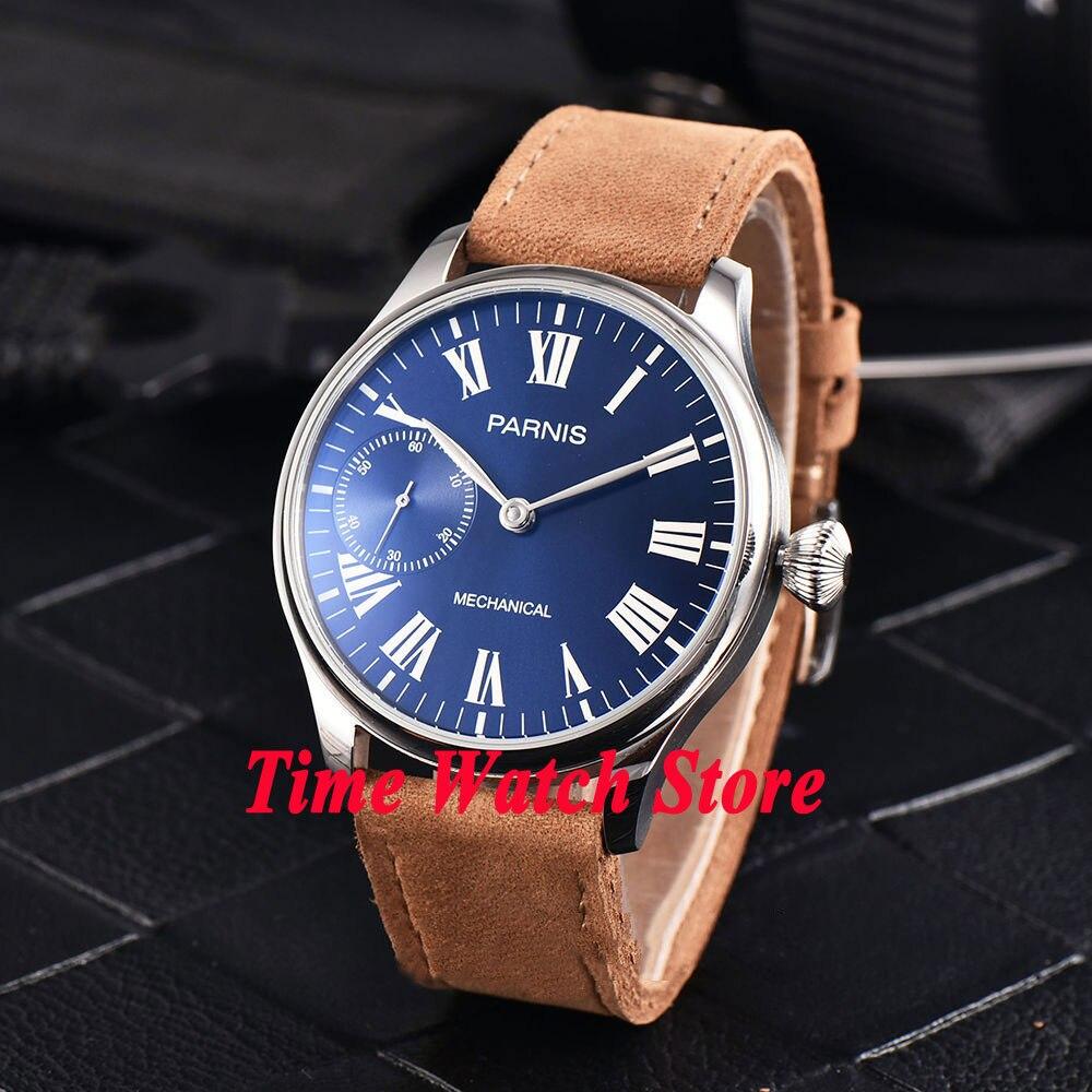 Parnis-17 جوهرة لامعة للرجال ، ساعة يد رجالية ، مينا أزرق ، مقاومة للماء ، أرقام رومانية ، حزام جلدي ، 6497 ، 44 مللي متر ، 794